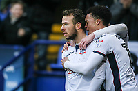 Bolton Wanderers' Adam Le Fondre celebrates scoring his side's first goal with team mate Antonee Robinson <br /> <br /> Photographer Andrew Kearns/CameraSport<br /> <br /> The EFL Sky Bet Championship - Bolton Wanderers v Fulham - Saturday 10th February 2018 - Macron Stadium - Bolton<br /> <br /> World Copyright &copy; 2018 CameraSport. All rights reserved. 43 Linden Ave. Countesthorpe. Leicester. England. LE8 5PG - Tel: +44 (0) 116 277 4147 - admin@camerasport.com - www.camerasport.com