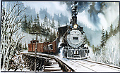 Photograph of watercolor painting of D&amp;RGW #318 crossing the Mill Creek Trestle with a freight train on the Ouray Branch.<br /> D&amp;RGW  Ouray Branch, CO  Taken by Rons, Jan (Artist)