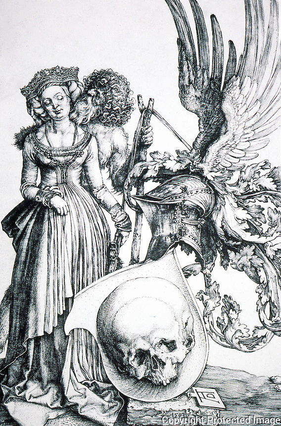 "Visual Arts:  Albrecht Durer--Coat-of-Arms of Death.  1503 engraving. ""By the age of thirty-two, Durer had acquired an extraordinary virtuousity in the use of the engraver's burin."""