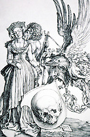 """Visual Arts:  Albrecht Durer--Coat-of-Arms of Death.  1503 engraving. """"By the age of thirty-two, Durer had acquired an extraordinary virtuousity in the use of the engraver's burin."""""""