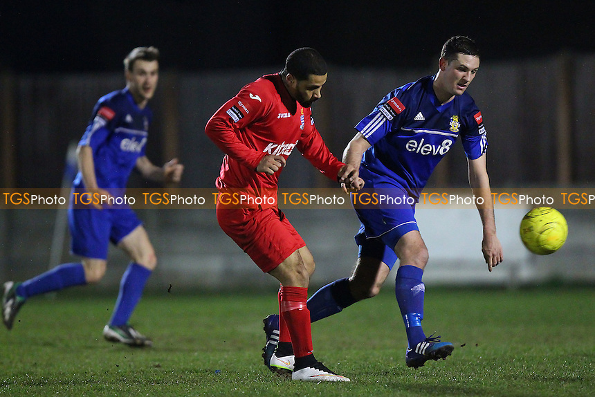 Kacey Adams of Redbridge with a rare shot - Aveley vs Redbridge - Ryman League Division One North Football at Mill Field, Aveley, Essex - 23/03/15 - MANDATORY CREDIT: TGSPHOTO - Self billing applies where appropriate - contact@tgsphoto.co.uk - NO UNPAID USE