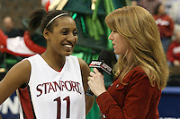 18 March 2006: Candice Wiggins is interviewed by ESPN's Heather Cox after Stanford's 72-45 win over Southeast Missouri State in the first round of the NCAA Women's Basketball championships at the Pepsi Center in Denver, CO.