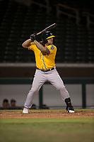 AZL Athletics first baseman Gio Dingcong (26) at bat during an Arizona League game against the AZL Cubs 1 at Sloan Park on June 28, 2018 in Mesa, Arizona. The AZL Athletics defeated the AZL Cubs 1 5-4. (Zachary Lucy/Four Seam Images)