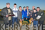 "CHAMPION DOG: ""Dresden Call Champion Greyhound who won the Kit Browne North Kerry Cup at Ballyduff Coursing on Saturday, l-r Tom Brennan, Darragh Sheahan, John O'Keeffe, Juli Anne O'Keeffe, Tom Bawn McCarthy, Jimmy Browne, Eoin Greaney and John Kelliher."