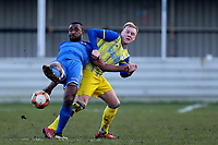 Stanley Muguo of Walthamstow and Smith of Hashtag United during Walthamstow vs Hashtag United, Essex Senior League Football at Wadham Lodge Sports Ground on 30th November 2019