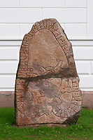 Rune stone from the 11th century. Eksjo town. Smaland region. Sweden, Europe.