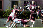 Los Angeles, CA 03/08/10 - Evan Snively (LMU # 4), Chase Parlett (LMU # 6), Chris Sjogren (FSU # 34) and Jack Tanenbaum (FSU # 29) in action during the Florida State-LMU MCLA interconference men's lacrosse game at Leavey Field (LMU).  Florida State defeated LMU 12-7.