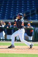 Cal State Fullerton Titans outfielder Josh Vargas (40) at bat during a game against the Alabama State Hornets on February 14, 2015 at Bright House Field in Clearwater, Florida.  Alabama State defeated Cal State Fullerton 3-2.  (Mike Janes/Four Seam Images)