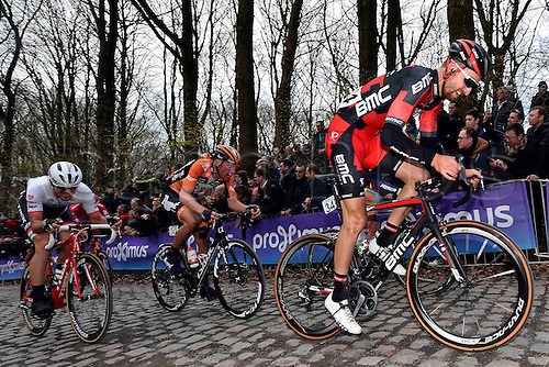 27.03.2016. Deinze, Belgium.  PHINNEY Taylor (USA) Rider of BMC RACING TEAM in action on the Kemmelberg during the Flanders Classics UCI World Tour 78nd Gent-Wevelgem cycling race with start in Deinze and finish in Wevelgem