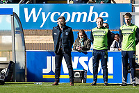 Gareth Ainsworth manager of Wycombe Wanderers observe's a minutes silence as a mark of respect to those who have lost their lives or were injured in the tragic attacks in Westminster London on the 22nd March 2017 during the Sky Bet League 2 match between Wycombe Wanderers and Notts County at Adams Park, High Wycombe, England on the 25th March 2017. Photo by Liam McAvoy.