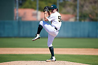 Oakland Athletics pitcher Wyatt Marks (56) delivers a pitch to the plate during an Instructional League game against the Cincinnati Reds on September 29, 2017 at Lew Wolff Training Complex in Mesa, Arizona. (Zachary Lucy/Four Seam Images)