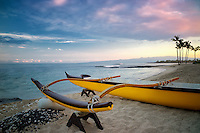 Outrigger canoe on the Kohala Coast at sunrise. The Big Island, Hawaii.