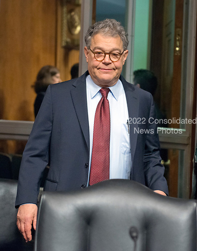 United States Senator Al Franken (Democrat of Minnesota) arrives to listen to Christopher A. Wray testify on his nomination to be Director of the Federal Bureau of Investigation (FBI) before the US Senate Committee on the Judiciary on Capitol Hill in Washington, DC on Wednesday, July 12, 2017.  <br /> Credit: Ron Sachs / CNP<br /> (RESTRICTION: NO New York or New Jersey Newspapers or newspapers within a 75 mile radius of New York City)