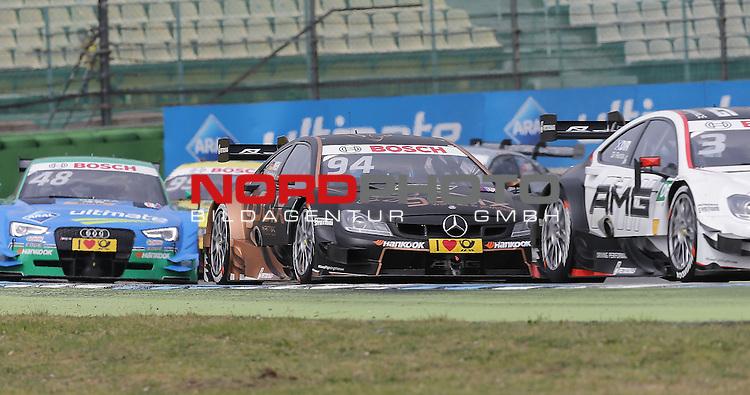 DTM 2015, 01.Lauf Hockenheimring, 01.05. - 03.05.15 <br /> Pascal Wehrlein (DEU#94) gooix/Original-Teile Mercedes-AMG C-Coup&eacute;, Edoardo Mortara (ITA#48) Audi Sport Team Abt Audi RS 5 DTM <br /> <br /> <br /> <br /> Foto &copy; nordphoto /  Bratic