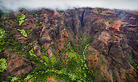 An aerial view of Waimea Canyon touched by clouds on Kaua'i.