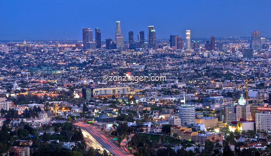 Los Angeles, CA. City Skyline, Cityscape, Downtown LA, Capitol Records Building, Dusk, Night, California,