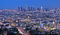 Los Angeles, CA. City Skyline, Cityscape, Downtown LA, Capitol Records Building, Dusk, Night, California,