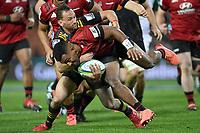 1st August 2020, Hamilton, New Zealand;  Sevu Reece and Aaron Cruden.<br /> Chiefs versus Crusaders, Super Rugby Aotearoa, FMG Waikato Stadium, Hamilton, New Zealand.