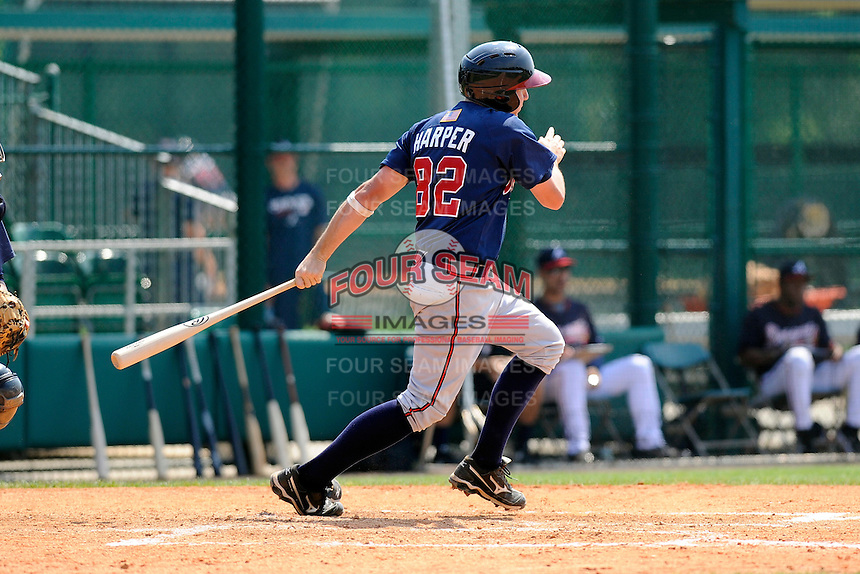 Infielder Reed Harper (82) of the Atlanta Braves farm system in a Minor League Spring Training intrasquad game on Wednesday, March 18, 2015, at the ESPN Wide World of Sports Complex in Lake Buena Vista, Florida. (Tom Priddy/Four Seam Images)