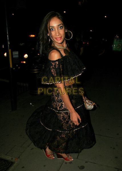 SOFIA HYATT.Out around town Saturday night in London..July 16th, 2005.full length black lace see through see thru underwear knickers .www.capitalpictures.com.sales@capitalpictures.com.©Capital Pictures.