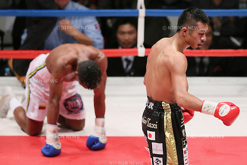 (L to R) Jeider Parra (VEN), Takashi Uchiyama (JPN), MAY 6, 2013 - Boxing : Takashi Uchiyama of Japan in action after the fight against Jeider Parra of Venezuela during the WBA Super Feather weight title bout at Ota-City General Gymnasium, Tokyo, Japan. Takashi Uchiyama won by KO after 5th rounds. (Photo by Yusuke Nakanishi/AFLO SPORT)
