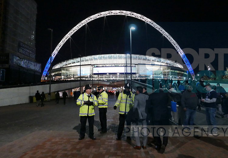 Police outside Wembley stadium during the Champions League group E match at the Wembley Stadium, London. Picture date November 2nd, 2016 Pic David Klein/Sportimage