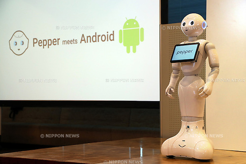 "May 19, 2016, Tokyo, Japan - Japanese telecom giant Softbank's humanoid robot Pepper poses at a press conference at the Softbank headquarters in Tokyo on Thursday, May 19, 2016. Pepper will support Google's Android OS, and that presales of models for developers will begin from July 2016. And SoftBank will offer a software development kit ""Pepper SDK for Android Studio"" which enables the development of RoboApps on the Android platform.  (Photo by Yoshio Tsunoda/AFLO) LWX -ytd-"