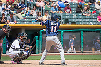 Tom Bezla (11) of the Reno Aces at bat against the Salt Lake Bees in Pacific Coast League action at Smith's Ballpark on May 10, 2015 in Salt Lake City, Utah. Salt Lake defeated Reno 9-2 in Game One of the double-header.  (Stephen Smith/Four Seam Images)