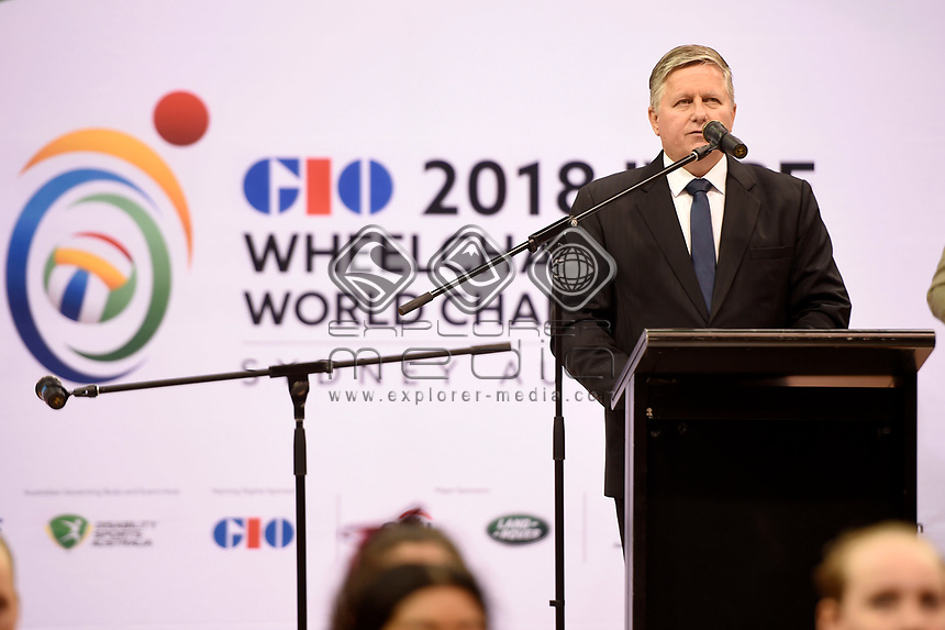 Opening Ceremony - Steve Loader (AUS)<br /> Chair - Organising Committee<br /> Australian Wheelchair Rugby Team<br /> 2018 IWRF WheelChair Rugby <br /> World Championship / Day 1<br /> Sydney  NSW Australia<br /> Sunday 5th August 2018<br /> © Sport the library / Jeff Crow / APC