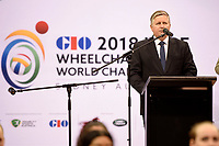 Opening Ceremony - Steve Loader (AUS)<br /> Chair - Organising Committee<br /> Australian Wheelchair Rugby Team<br /> 2018 IWRF WheelChair Rugby <br /> World Championship / Day 1<br /> Sydney  NSW Australia<br /> Sunday 5th August 2018<br /> &copy; Sport the library / Jeff Crow / APC