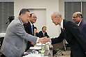 (L-R) Yoshiro Mori, Fujio Mitarai, Kazuya Kasahara, N Ramachandran, AUGUST 7, 2015 : The Tokyo 2020 Organising Committee interviews members of the World Squash Federation (WSF), as it considers new events for inclusion in the 2020 Tokyo Olympic Games, Tokyo, Japan. (Photo by Uta MUKUO/Tokyo2020/AFLO)