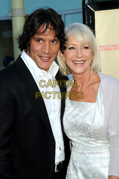"SERGIO PERIS-MENCHETA & DAME HELEN MIRREN .""Love Ranch"" Los Angeles Premiere held at Arclight Cinemas, Hollywood, California, USA, 23rd June 2010..arrivals half length black suit jacket white shirt silver dress  cardigan shrug .CAP/ADM/BP.©Byron Purvis/AdMedia/Capital Pictures."
