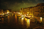 Night scene of The Grand Canal from the Rialto Bridge in Venice, Italy
