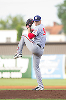 Hagerstown Suns starting pitcher Lucas Giolito (27) in action against the Greensboro Grasshoppers at NewBridge Bank Park on June 21, 2014 in Greensboro, North Carolina.  The Grasshoppers defeated the Suns 8-4. (Brian Westerholt/Four Seam Images)
