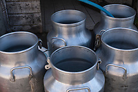 Freshly cleaned milk cans at the Beaufort Cheese factory in the Valee de Glaciers along the Tour du Mont Blanc France
