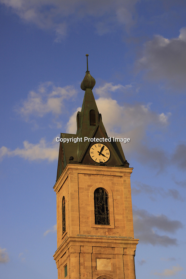 Israel, Tel Aviv-Yafo, the Clock Tower in Jaffa was built in the beginning of the 20th century to celebrate the silver jubilee of the reign of the Ottoman Sultan Abd al-Hamid the II ..