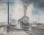 "Last steam locomotive train on the New Haven Railroad going through the station platform at Putnam, CT, in 1952. Oil on canvas, 19"" x 24""."