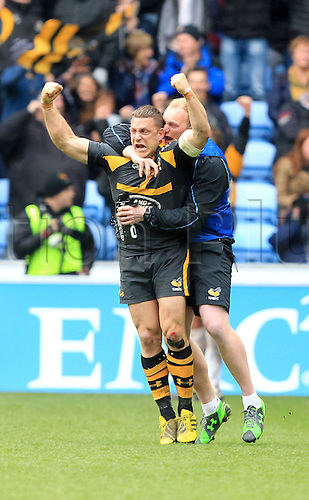 09.04.2016. Ricoh Arena, Coventry, England. European Champions Cup. Wasps versus Exeter Chiefs.  Wasps fly-half Jimmy Gopperth celebrates his try conversion to win with the last kick of the match