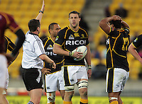 Jeremy Thrush considers his options as referee Matt Muir awards a penalty during the ITM Cup rugby union match between Wellington Lions and Southland Stags at Westpac Stadium, Wellington, New Zealand on Sunday, 2 September 2012. Photo: Dave Lintott / lintottphoto.co.nz