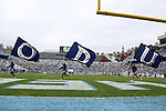 23 November 2013: Old Dominion cheerleaders run ODU flags across the endzone after a field goal. The University of North Carolina Tar Heels played the Old Dominion University Monarchs at Keenan Stadium in Chapel Hill, NC in a 2013 NCAA Division I Football game. UNC won the game 80-20.