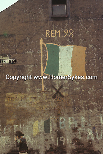 Ireland The Trobles. Belfast 1970s. Tricolour wall painting.