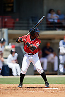 Carolina Mudcats Devin Hairston (6) at bat during a Carolina League game against the Winston-Salem Dash on August 14, 2019 at Five County Stadium in Zebulon, North Carolina.  Winston-Salem defeated Carolina 4-2.  (Mike Janes/Four Seam Images)