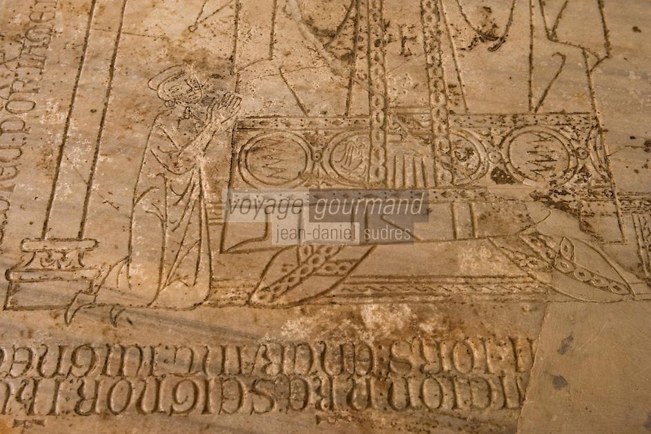 Asie/Israël/Galilée/Saint-Jean-d'Acre: Détail de sculpture sur pierre - Vieille ville des croisés de Saint Jean d'Acre
