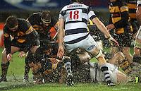 Taranaki's Ace Malo (bottom left) is tackled. Air New Zealand Cup rugby match - Taranaki v Auckland at Yarrows Stadium, New Plymouth, New Zealand. Friday 9 October 2009. Photo: Dave Lintott / lintottphoto.co.nz