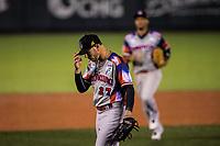 Yunesky Maya, pitcher inicial de Águilas Cibaeñas de Republica Dominicana, se persina tras sacar el tercer out en el primer inning contra  Alazanes de Gamma de Cuba, durante la Serie del Caribe en estadio Panamericano en Guadalajara, México, Miércoles 7 feb 2018.  (Foto: /Luis Gutierrez)