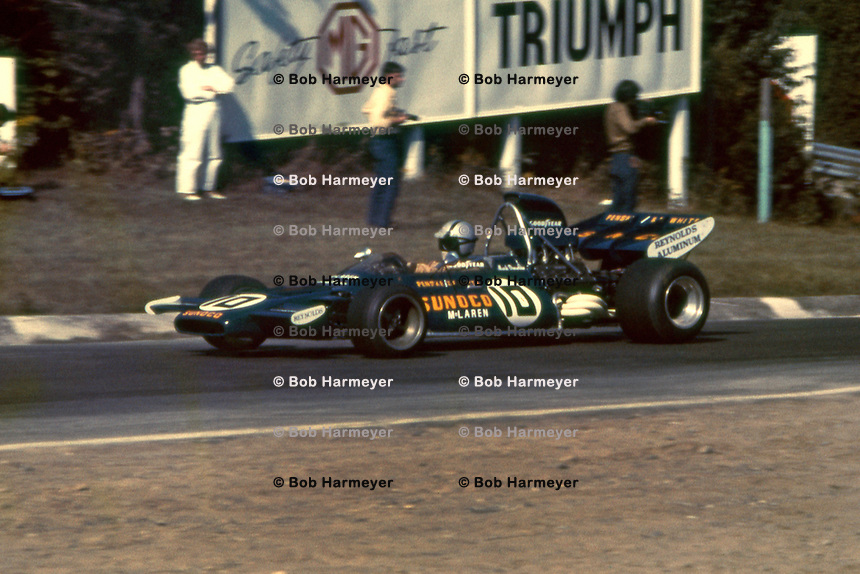 BOWMANVILLE, ONT - SEPTEMBER 19: Mark Donohue drives Roger Penske's McLaren M19A 1/Ford Cosworth enroute to third place in the Canadian Grand Prix at Mosport Park near Bowmanville, Ontario, Canada, on September 19, 1971.
