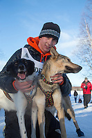 Second-place finisher, Andrew Nolan poses with his lead dogs at the finish line of the 2016 Junior Iditarod in Willow, Alaska, AK  February 28, 2016