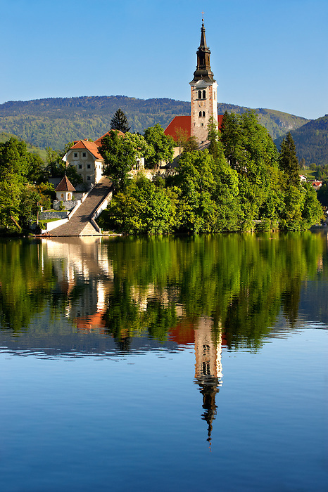 Assumption of Mary Pilgrimage Church in the middle of  Lake Bled Slovenia.