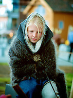 Young actress in Viking costume at the Midsummer Festival in Tønsberg, Norway