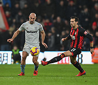 Bournemouth's Charlie Daniels (right) holds off the challenge from West Ham United's Pablo Zabaleta (left) <br /> <br /> Photographer David Horton/CameraSport<br /> <br /> The Premier League - Bournemouth v West Ham United - Saturday 19 January 2019 - Vitality Stadium - Bournemouth<br /> <br /> World Copyright © 2019 CameraSport. All rights reserved. 43 Linden Ave. Countesthorpe. Leicester. England. LE8 5PG - Tel: +44 (0) 116 277 4147 - admin@camerasport.com - www.camerasport.com